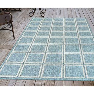 Hamm Squares Aqua Indoor/Outdoor Area Rug
