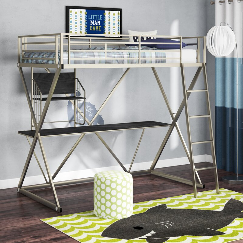 Zoomie Kids Hedy Four Poster Twin Loft Bed With Bookcase