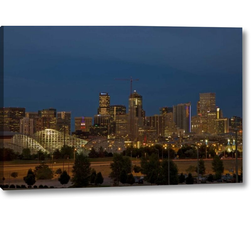World menagerie use colorado denver skyline at dusk photographic use colorado denver skyline at dusk photographic print on wrapped canvas gumiabroncs Images