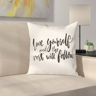 Quote Self Love Wisdom Words Square Pillow Cover