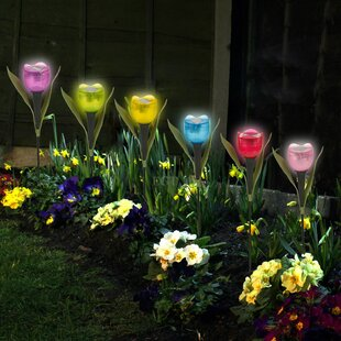 Peary 6 Light Assorted Garden Solar Tulip Pathway Lights (Set Of 6) Image
