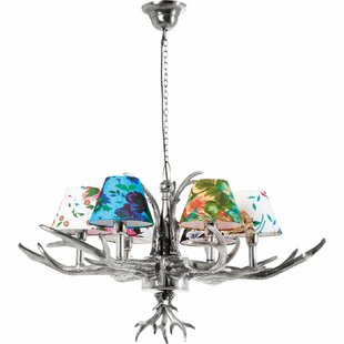Antler Flowers 6 Light Drum Chandelier