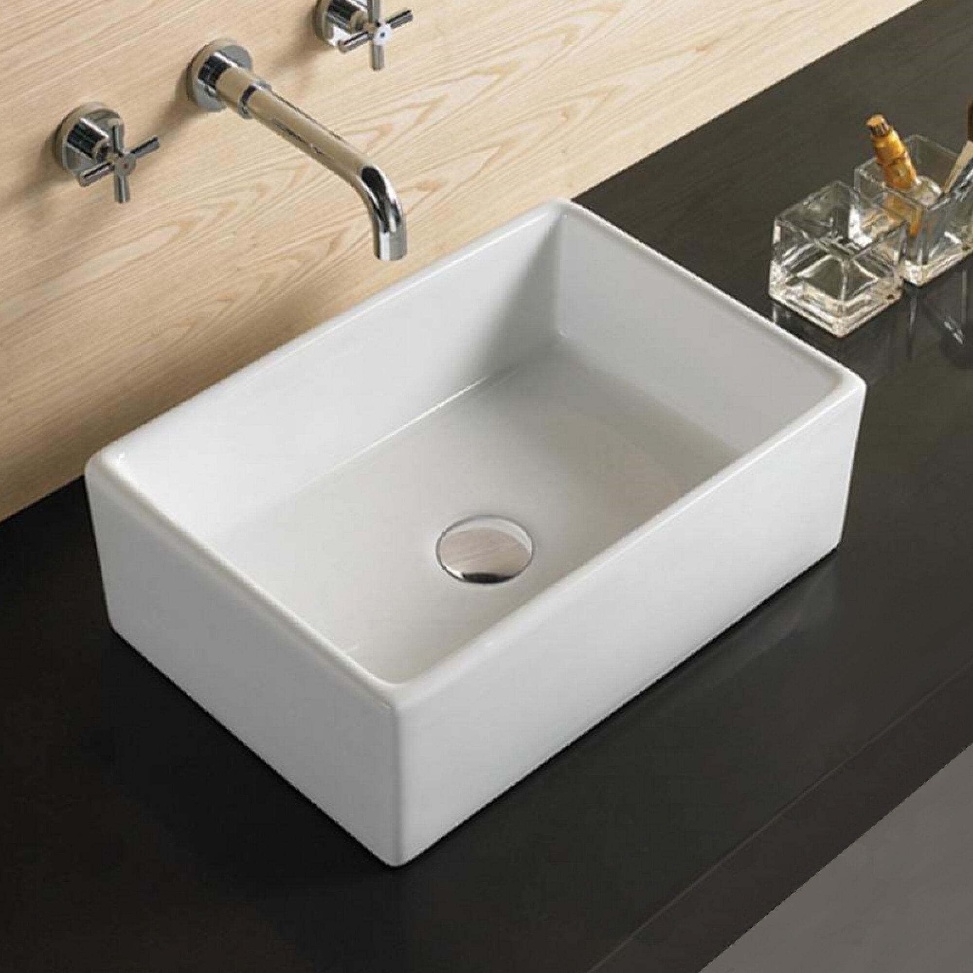 American Imaginations Above Counter Drilling Ceramic Rectangular Vessel Bathroom Sink Wayfair