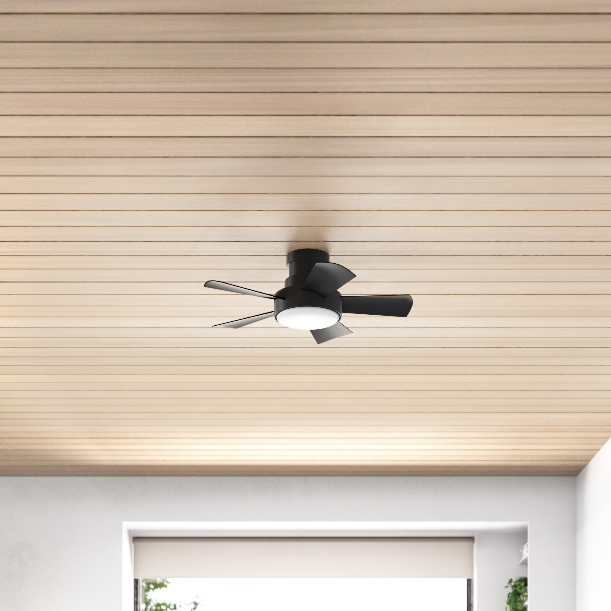 Vox 5 Blade Outdoor Led Smart Flush Mount Ceiling Fan Light Kit Reviews Allmodern