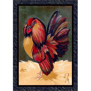 Inexpensive Fall Seasonal Red/Green Provincial Rooster Area Rug By Milliken