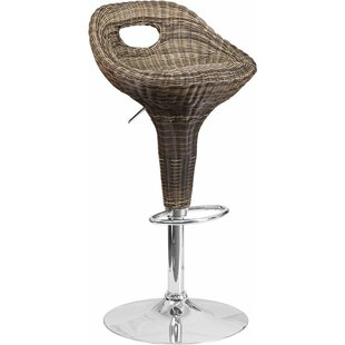Pervez Wicker 3 Low Cutout Back Adjustable Height Swivel Bar Stool