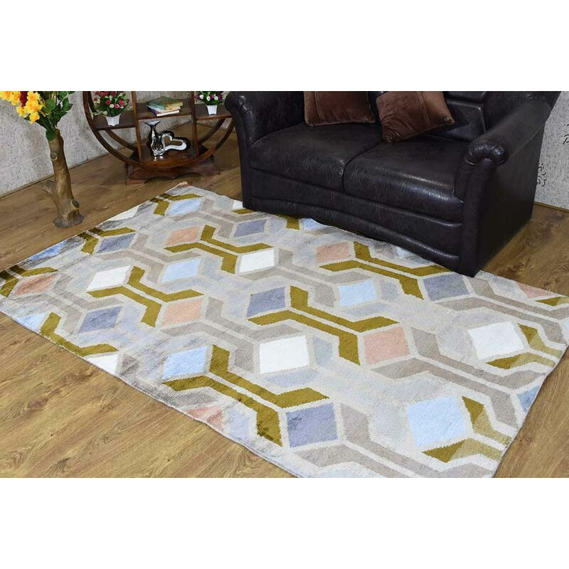 George Oliver Patchway Geometric Hand Knotted Light Gray Area Rug Wayfair Ca