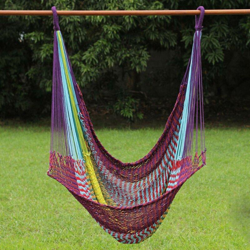 Novica Fair Trade Comfortable Multicolored Hand Woven Thai Cotton Indoor And Outdoor Swinging Hammock Chair Wayfair