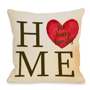 Personalized Home Heart Family Throw Pillow