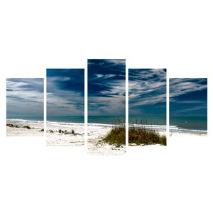 'Silent Beach' 5 Piece Photographic Print on Wrapped Canvas Set