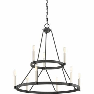 Lopes 9-Light Wagon Wheel Chandelier by U..