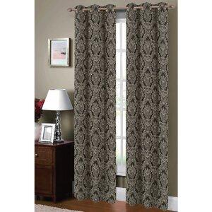 Adelle Damask Sheer Grommet Curtain Panels (Set of 2)