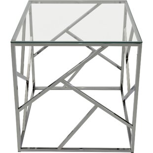 Jetta Glass and Metal End Table By Ivy Bronx