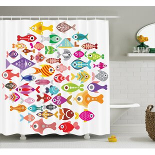Wyman Rounded Different Fish Decor Single Shower Curtain