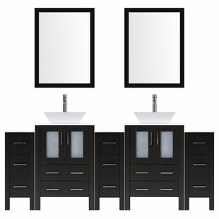 Modern 108 Double Bathroom Vanity Set with Mirror by LessCare
