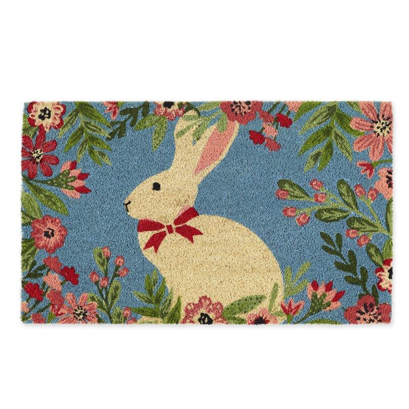 The Holiday Aisle Boxford Bunny 30 X 18 Non Slip Outdoor Door Mat Reviews Wayfair