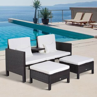 Kayson Loveseat and Nested Ottoman Outdoor Furniture 3 Piece Rattan