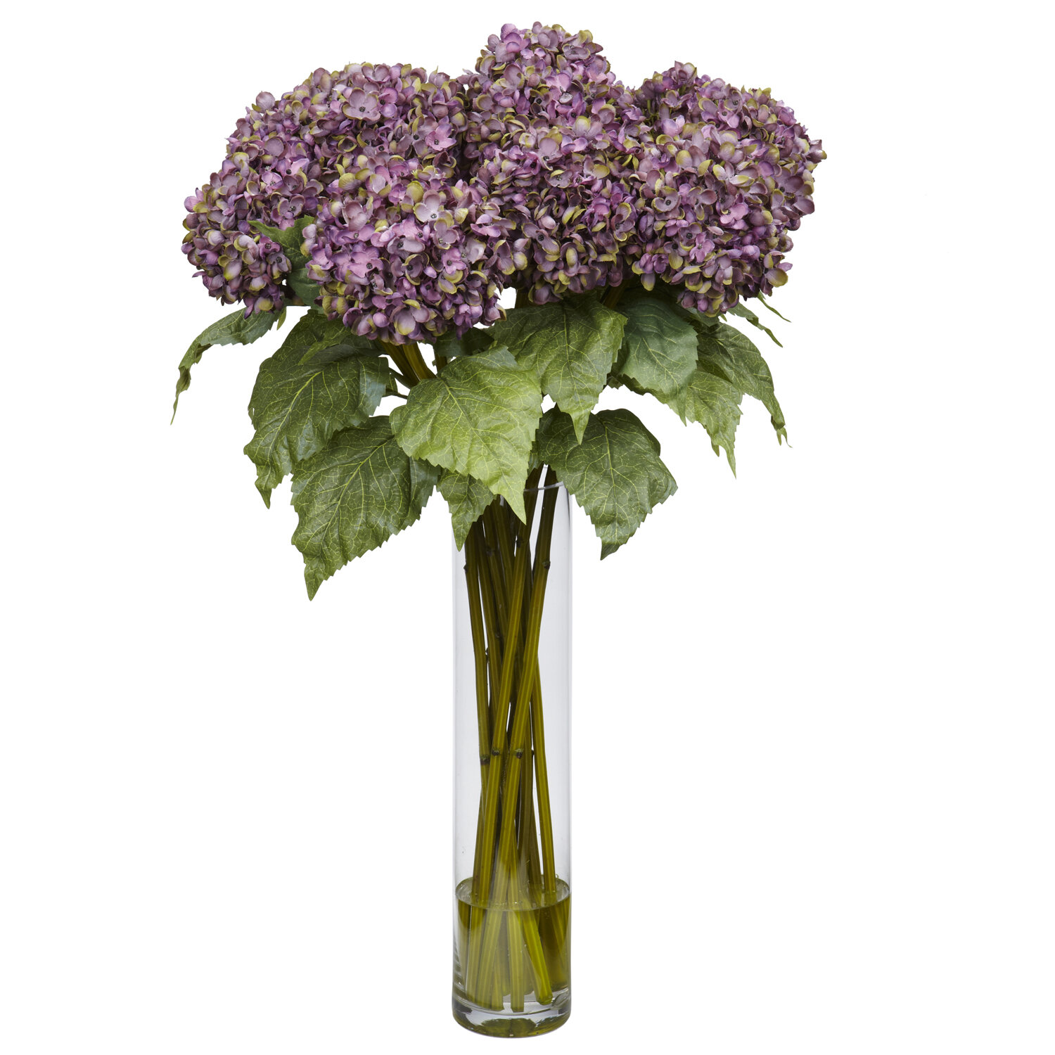 Nearly Natural Hydrangea Silk Flower Arrangement In Purple Reviews
