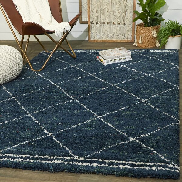 Union Rustic Boudreaux Geometric Navy Area Rug Reviews Wayfair