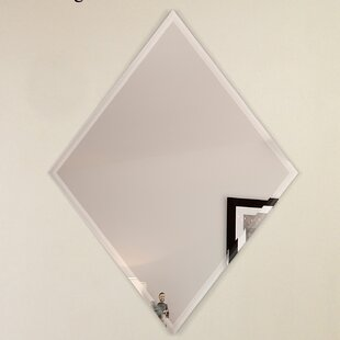 Fab Glass and Mirror Diamond Edge with 2 Hooks Bathroom/Vanity Mirror