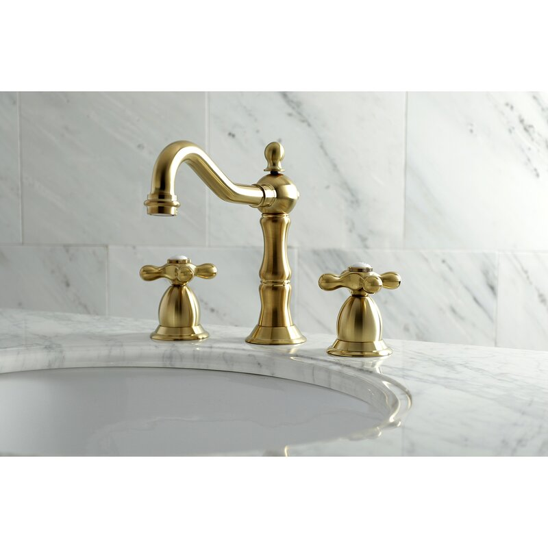Kingston Brass Heritage Big Cross Handle Widespread Bathroom Faucet With Drain Assembly Reviews Wayfair