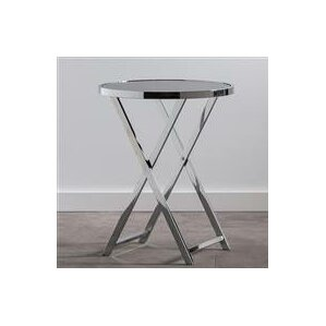Lenox Round Glass Top Side End Table by Insp..