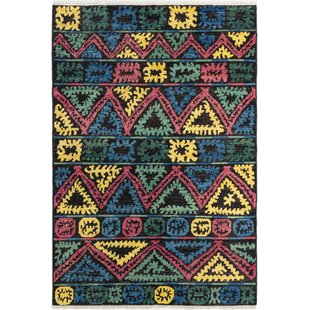 Price comparison One-of-a-Kind Dolphin Hand-Knotted 6'0 x 8'10 Wool Black/Green/Yellow Area Rug By Isabelline
