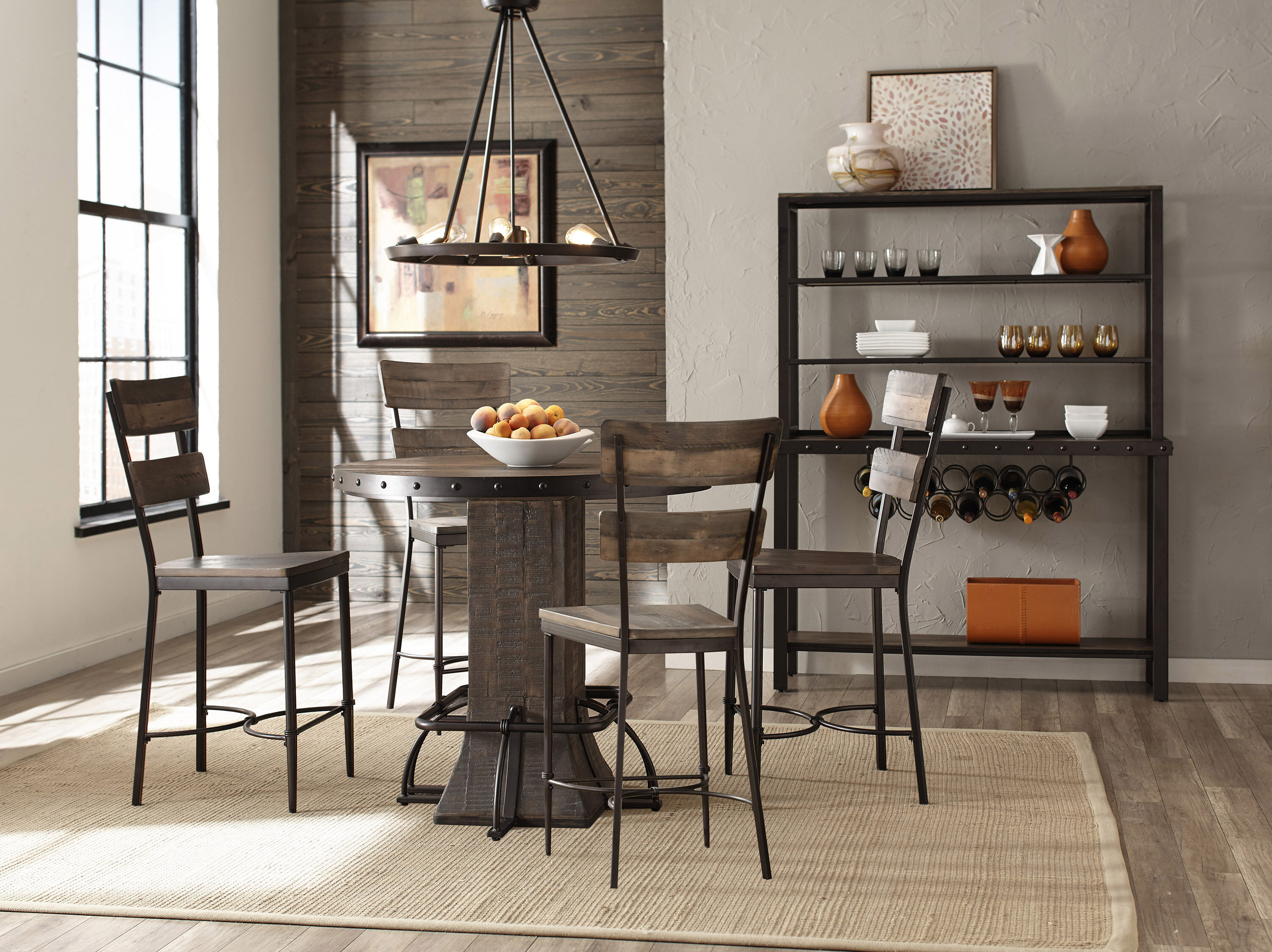 Gracie Oaks Cathie 5 Piece Round Wood Counter Height Dining Set | Wayfair