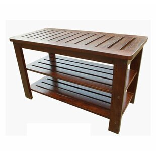Entryway Handcrafted Mahogany Wood 2 Tiers Shoe Bench