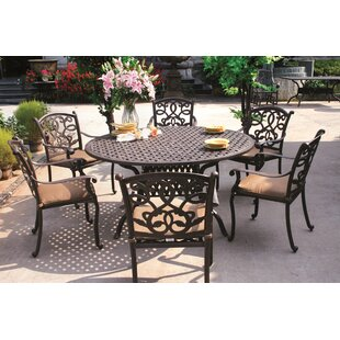 Fleur De Lis Living Calhoun Traditional 7 Piece Dining Set with Cushions
