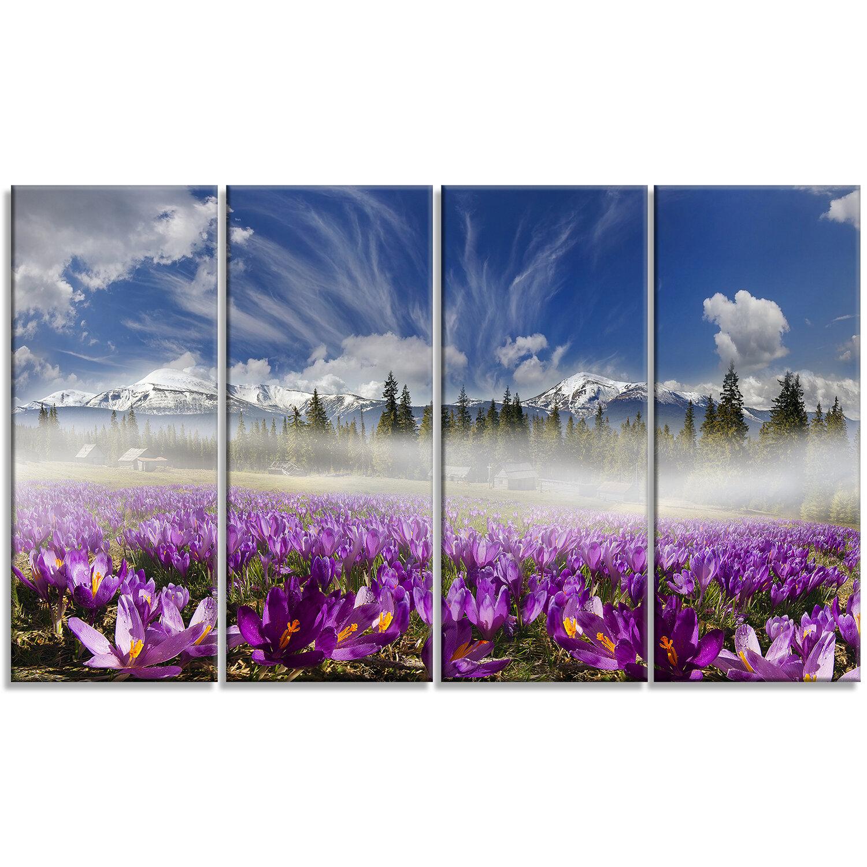 Designart Spring Flowers Crocuses 4 Piece Wall Art On Wrapped Canvas Set Wayfair