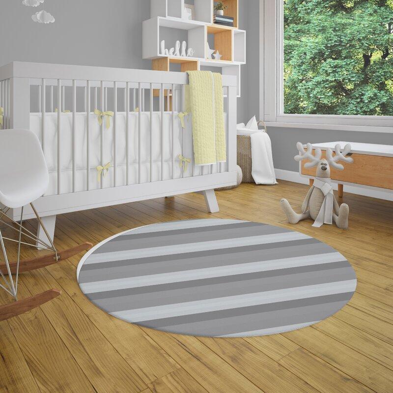 Ebern Designs Amalfi Gray Striped Area