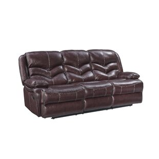 Washington Manual Motion Leather Reclining Sofa by Three Posts