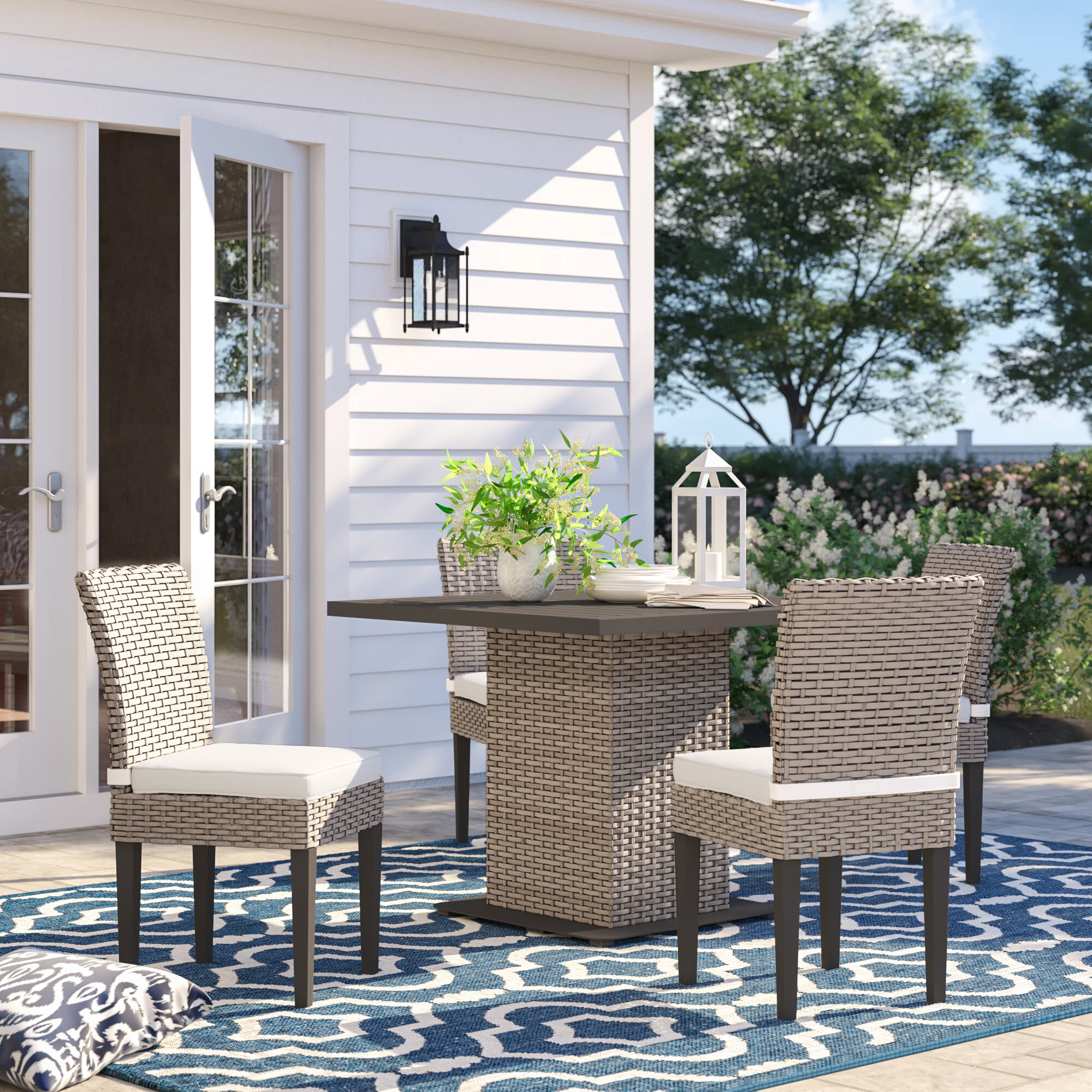 Sol 72 Outdoor Rockport 5 Piece Dining Set With Cushions Reviews Wayfair