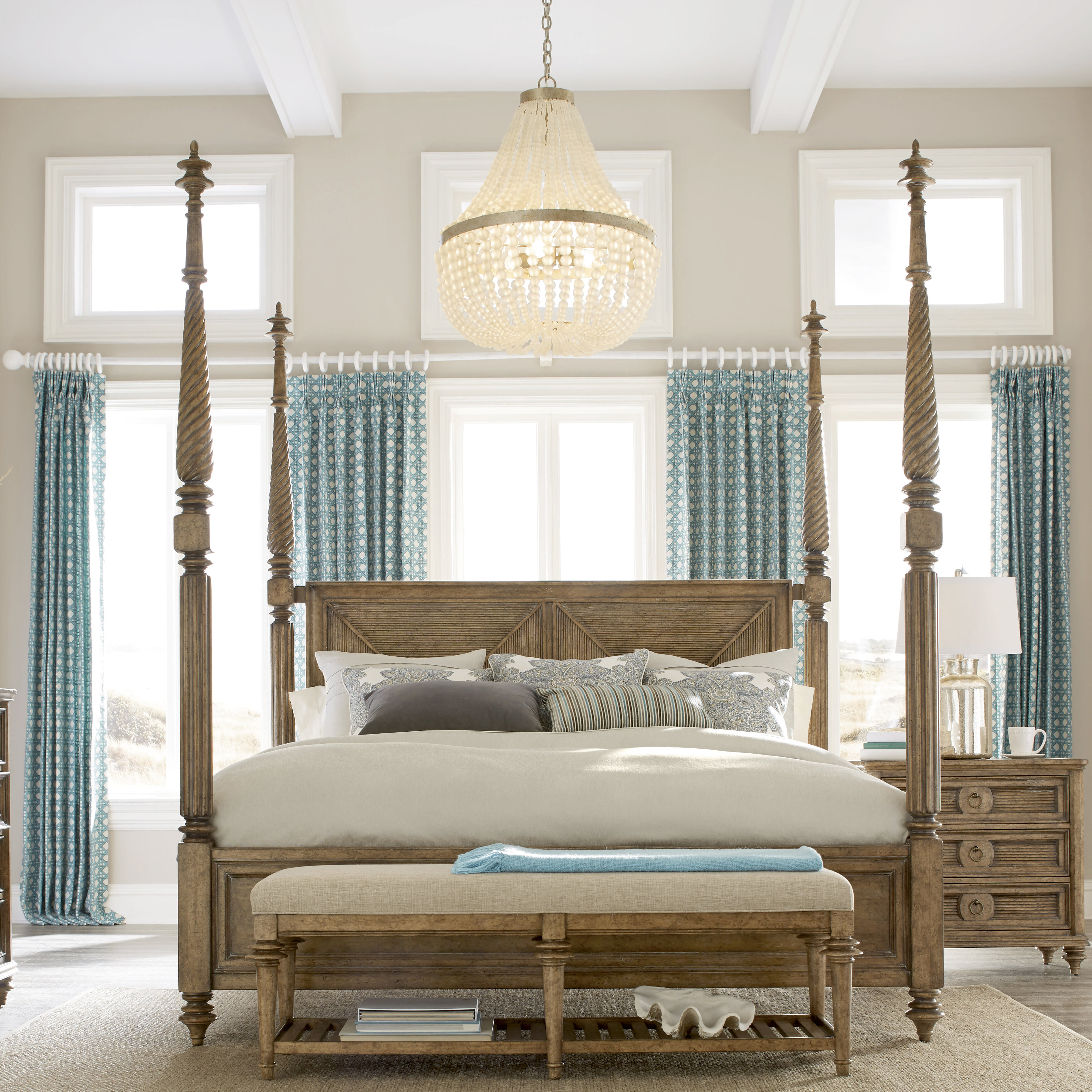 Bon Bay Isle Home Gerakies California King Four Poster Bed With Canopy | Wayfair
