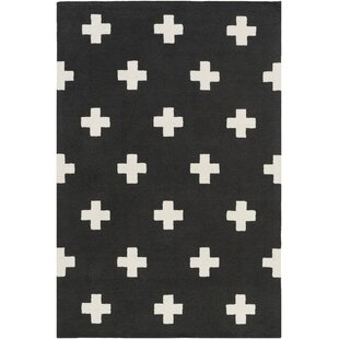 Great choice Litten Hand-Crafted Black/White Area Rug ByUnion Rustic