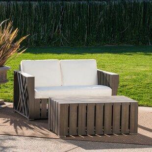 Gracie Oaks Winkelman 2 Piece Conversation Set with Cushions