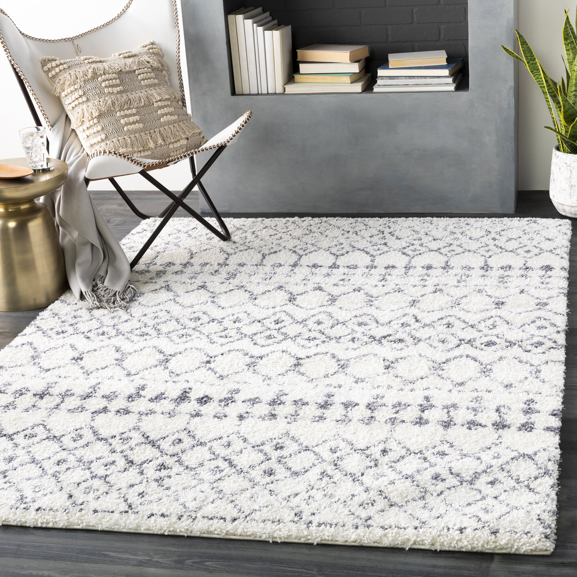 Mistana Shiloh Geometric Medium Gray White Area Rug Reviews Wayfair