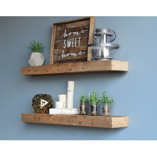 Bulah Reclaimed Barn Wood Floating Wall Shelf (Set of 2)