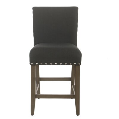 "Arlene 24"" Bar Stool Seat Color: Dark Charcoal, Frame Color: Patina Gray by Darby Home Co"