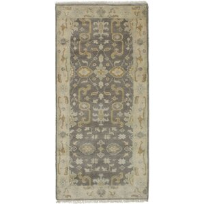 One Of A Kind Li Hand Knotted Runner Dark Gray Area Rug