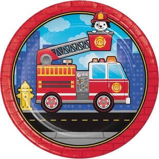 Fire Truck Paper Plate (Set of 24)