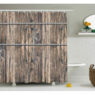 Bendigo Rustic Wooden Long Farmhouse Themed Planks With Screws and Lines Art Shower Curtain ByLoon Peak