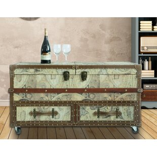 Jorah Old World Map Print Coffee Table with Storage