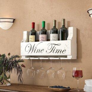 Truluck Wine Time 4 Bottle Wall Mounted W..