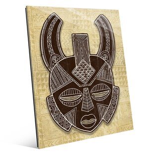 African Mask Horns Tan Graphic Art
