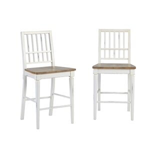 Galliano Counter Height Solid Wood Dining Chair (Set of 2) Rosecliff Heights