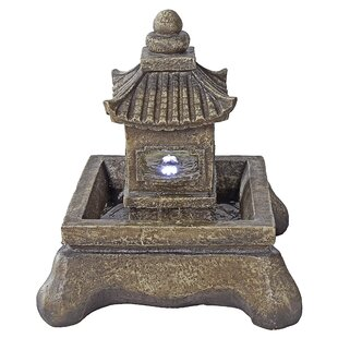 Wildon Home ® Resin Pagoda Illuminated Garden Fountain with LED Light
