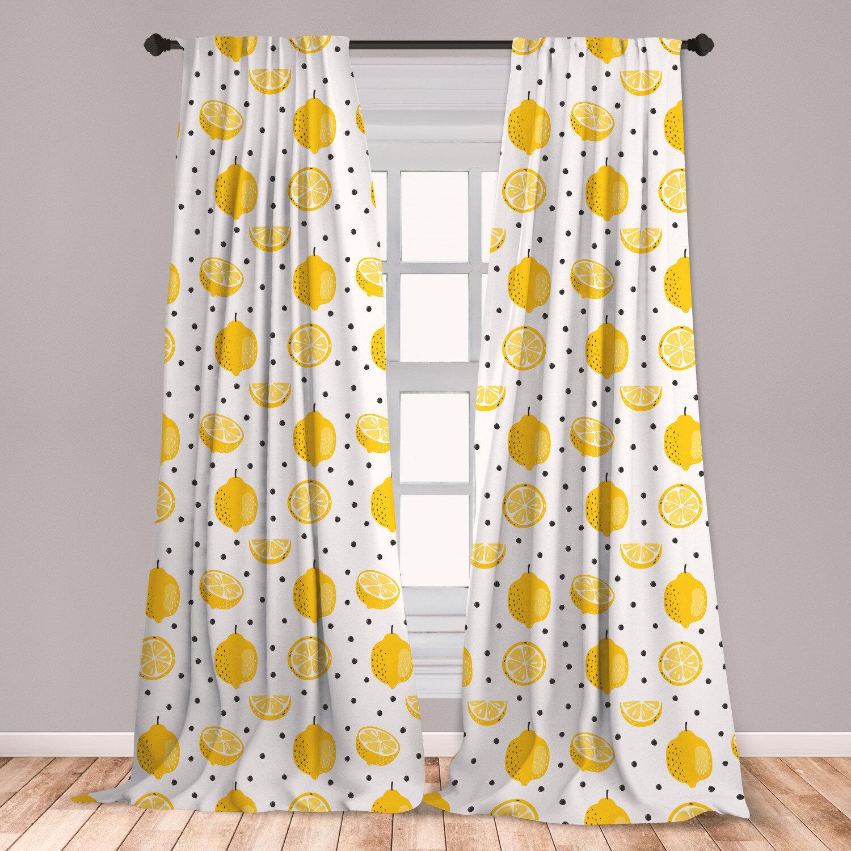 East Urban Home Lemon Polka Dots Room Darkening Rod Pocket Curtain Panels Wayfair
