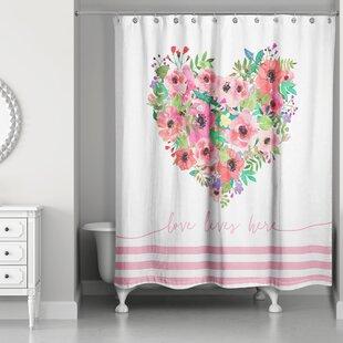 Hopp Love Lives Here Single Shower Curtain